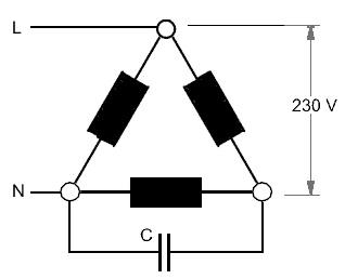 Drehstrommotor mit Kondensator - die Steinmetzschaltung