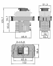 300P228 massblatt - Tripus insert switch E, 400V, 4 N/O contacts (replacement for Kedu KJD11)