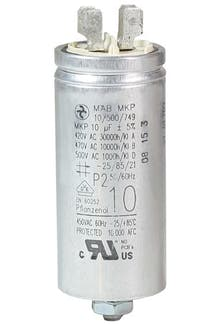 100400MBA/FL  - Operating capacitor 10 µF / 450 V, aluminium can, Flat plug