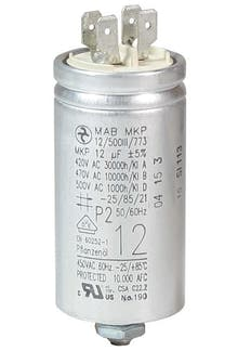 120400MBA/FL  - Operating capacitor 12 µF / 450 V, aluminium can, Flat plug