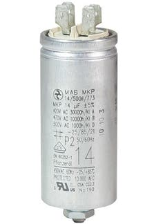 140400MBA/FL  - Operating capacitor 14 µF / 450 V, aluminium can, Flat plug