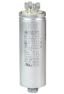 160400MBA/FL  - Operating capacitor 16 µF / 450 V, aluminium can, Flat plug