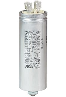 200400MBA/FL  - Operating capacitor 20 µF / 450 V, aluminium can, Flat plug
