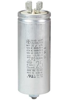 250400MBA/FL  - Operating capacitor 25 µF / 450 V, aluminium can, Flat plug