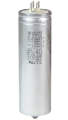 400400MBA/FL  - Operating capacitor 40 µF / 450 V, aluminium can, Flat plug