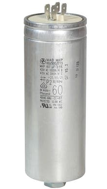 600400MBA/FL  - Operating capacitor 60 µF / 450 V, aluminium can, Flat plug