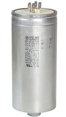 800400MBA/FL  - Operating capacitor 80 µF / 450 V, aluminium can, Flat plug