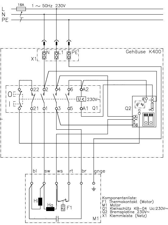 Motorschalter K400VB/NKA12/KA12 für Mafell Erika 65L