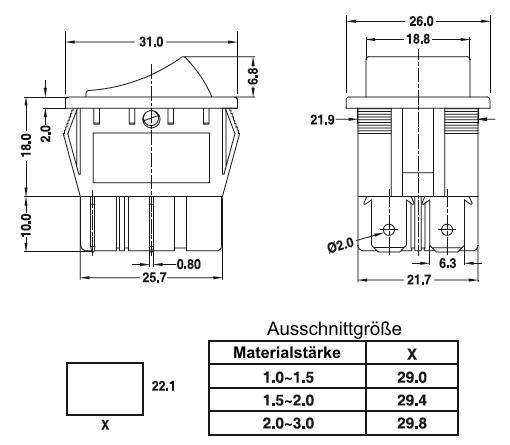Wippschalter SR08-C, 2-pol. Taster, Ersatz für Kedu HY12-9-3