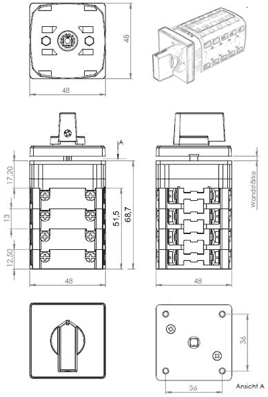 wende nockenschalter tastend f r hebeb hnen 25 a. Black Bedroom Furniture Sets. Home Design Ideas